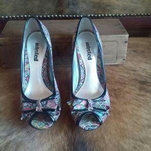 Floral Peep Toe Heels, Size 6.5